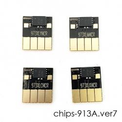 Чипы для HP PageWide P55250dw, P57750dw (совм. 913A L0R95A, F6T77AE, F6T78AE, F6T79AE), авто обнуляемые, увеличенный ресурс как 973X, комплект 4 цвета, версия 9, не требуют отката прошивки