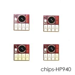 Чипы для HP Officejet Pro 8000, 8500, 8500A (для картриджей 940, совместимых ПЗК и СНПЧ), комплект 4 цвета