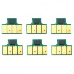 Чипы для картриджей HP 761 к HP DesignJet T7100, T7200 (совм. CM991A, F9J55A,CM994A, F9J52A,CM993A, F9J51A,CM992A, F9J50A,CM995A, F9J53A,CM996A, F9J54A), одноразовые, комплект 6 цветов