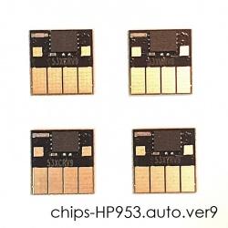 Чипы для HP OfficeJet Pro 8210, 8710, 7740, 7720, 7730, 8720, 8730, 8725, 8218, 8715, 8740 (совм. HP 953 / 957), совместимые, авто обнуляемые, комплект 4 цвета, версия 9, работает с прошивкой 2006, 2007
