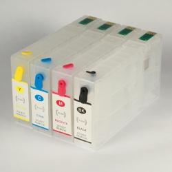 Перезаправляемые картриджи (ПЗК) для Epson WorkForce Pro, совместимых с картриджами T786 C/M/Y/K (Cyan T7862, Magenta T7863, Yellow T7864, Black T7861), комплект 4 цвета с авто-чипами