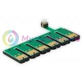 Чип для СНПЧ к Epson Stylus Photo T50, T59, TX800FW, TX810, TX700, TX710, TX650, TX659, RX690, RX610, RX615, R290, R270, R390, 1410 (T0821-T0826, с кнопкой сброса) (планка чипов)