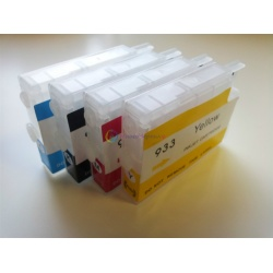 Перезаправляемые картриджи (ПЗК) для HP Officejet OJ 6700, 6100, 6600, 7110, 7610, 7612, (HP 933/932), подходят для СНПЧ, с пакетами внутри для повышенной надежности, с чипами