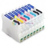 Перезаправляемые картриджи (ПЗК/ДЗК) для Epson Stylus Photo R2400/2400 с авто-чипами (8 шт.)