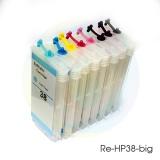 Перезаправляемые картриджи (ПЗК/ДЗК) для HP Photosmart Pro B9180, B9180gp, B8850, 8800, B9100 (под HP 38) с чипами, комплект 8 цветов, увеличенный объем