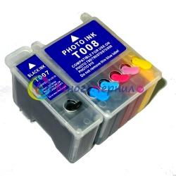 Перезаправляемые картриджи (ПЗК) для Epson Stylus Photo 890, 790, 870, 895, 915 (под картриджи T007/T008) с чипами, 2 шт