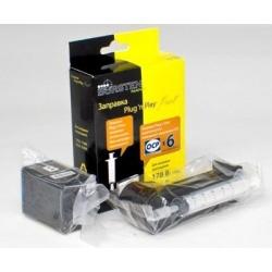 Набор Plug-n-Print для заправки черных картриджей HP178 Black Pigment, HP Photosmart C5383, D5463, C5380, C310b (CN503c), C6383, D5460, C410c, C6380, B8553,  D7560, C309g, C6375, B8550, C309h, C6324, C310a, c чернилами на 6 заправок