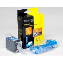Набор Plug-n-Print для заправки голубых картриджей HP655, HP178, HP920 DeskJet 3070a, 3070, HP Photosmart 5510, B110, 7510, B110b, 6510, B010b, B210b, 5515, B109, B109c, B209a, C310b, 5520, B209b, B110a, C410 c контейнером чернил на 20 заправок