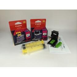 Комплект перезаправляемых картриджей BURSTEN King Canon PG-440, CL-441 для MG3140, MX514, MG4140, MG3540, MG2240, MG3240, MG4240, MG2140, MX374, MX434, MX474, MG3640 (для заправки PUSH-контейнерами), заправленные, 2 шт, с заправочной платформой