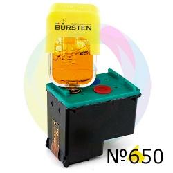 Перезаправляемый картридж BURSTEN King HP 650 цветной Tri-colour HP Deskjet Ink Advantage 1515, 2515, 1015, 2545, 2645, 3515, 4645, 3545, 4515 (для заправки PUSH-контейнерами), заправленный