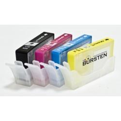 Перезаправляемые нано-картриджи Bursten Nano-1 для HP DeskJet 3070a, 3070, HP Photosmart 5510, B110, B110b, 6510, B010b, B210b, 5515, B109, B109c, B209a, 5520, B209b, B110a, C410, HP 178/920/655, 4 картриджа (без чипов)