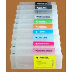 Перезаправляемые картриджи (ПЗК/ДЗК) для широкоформатных принтеров Epson SureColor SC-P7000, SC-P9000 + модели Spectro (T8241-T824B, T8041-T804B), с чипами, комплект 11 х 700 мл.