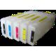 Перезаправляемые картриджи (ДЗК/ПЗК) для Epson Stylus Pro 7700 и 9700, 7710, 9710 с чипами и пакетом, 5 x 700 мл отсутств. цвета можно делать из др. цвета