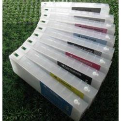 Перезаправляемые картриджи (ПЗК/ДЗК) для широкоформатных принтеров Epson SureColor SC-P6000, SC-P8000 + модели Spectro (T8041-T8049), с чипами, комплект 9 х 700 мл