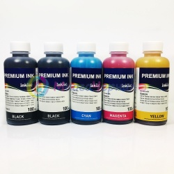 Чернила для Epson L7160, L7180, ET-7700, ET-7750 (Фабрика Печати), InkTec пигментные E0013 + водорастворимые E0017, комплект 5 цветов по 100 мл