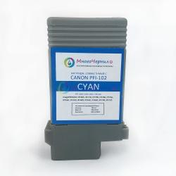 Картридж PFI-102C для Canon imagePROGRAF iPF605, iPF710, iPF750, iPF760, iPF765, iPF510, iPF500, iPF600, iPF610, iPF650, iPF700, iPF720, Cyan, совместимый, 130 мл