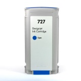 Картридж для HP DesignJet T920, T2530, T2500, T930, T1500, T1530 (совм. HP 727 B3P19A), совместимый, неоригинальный, голубой Cyan водный, 130 мл