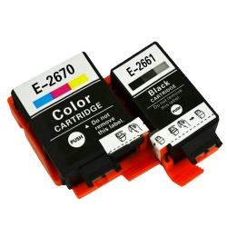 Комплект картриджей для Epson WorkForce WF-100W (совм. T2661, T2670), совместимые, одноразовые, 2 штуки