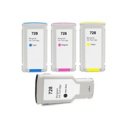 Картриджи для HP DesignJet T730, T830 (совместимость по 728 F9J68A, F9J67A, F9J66A, F9J65A), неоригинальные, комплект 4 цвета