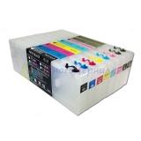 Перезаправляемые картриджи (ПЗК/ДЗК) для Epson Stylus Pro 4880 (под оригиналы T605x / T606x), с чипами и декодером для бесперебойной работы, прозрачные по 300 мл, комплект 8 цветов