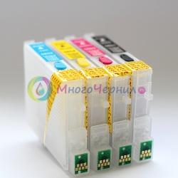 Перезаправляемые картриджи (ПЗК/ДЗК) для Epson Stylus C88, CX4200, CX3800, CX5800, CX3810, CX4800, CX5800F, CX7800, с чипами 4 шт.