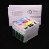 Перезаправляемые картриджи (ПЗК) для МФУ Epson Stylus SX430W, SX438W, SX420W, SX425W, SX435W, SX440W, SX445W (чипы T1291-T1294), 4 цвета, с чипами