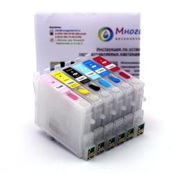 Перезаправляемые картриджи (ПЗК) для Epson Stylus Photo R200, R220, R300, R320, R340, RX600, RX620, RX640, RX500, 6 шт с чипами