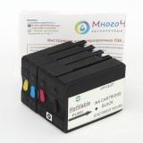 Перезаправляемые картриджи (ПЗК) для HP OfficeJet OJ 7110, 7510, 7612, 7512, 6700, 7610, 6100, 6600 (под HP 933/932), с увеличенным чёрным картриджем, непрозрачные, с чипами, повышенная надежность, комплект 4 цвета