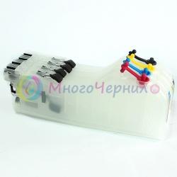 Перезаправляемые картриджи (ПЗК) для Brother MFC-J2510, MFC-J2310, MFC-J3720, MFC-J3520, Long (длинные), БЕЗ ЧИПОВ, набор 4 шт (для картриджей LC563/LC565/LC567)
