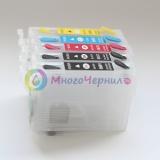 Перезаправляемые картриджи (ПЗК) для Epson Expression Home XP-231, XP-241, XP-431, XP-441 (совм T2961-T2964), с одноразовыми чипами, комплект 4 цвета