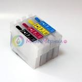 Перезаправляемые картриджи (ПЗК/ДЗК) для Epson ME Office 82WD, 900WD, 940WD, 960FWD, WorkForce WF-3011, WF-3521, WF-3531, WF-7011, WF-7018, WF-7511, WF-7521 (совм. T1431-T1434), с обнуляемыми чипами, комплект 4 цвета