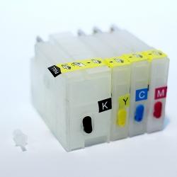 Перезаправляемые картриджи (ПЗК) для HP Officejet OJ 7510, 7512, 6700, 6100, 6600, 7110, 7610, 7612, (HP 933/932), максимальный объем, с насадкой для прокачки картриджей, с чипами (расширенная совместимость чипов)