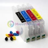 Перезаправляемые картриджи (ПЗК)  для Epson CX6600, C86, C84, CX6400, CX4600, CX3600, C66, C64 (T0441, T0442, T0443, T0444) с чипами, 4 шт,