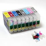 Перезаправляемые картриджи для Epson Stylus Pro R2880 (T0961- T0967, T0969), 8 шт, с чипами
