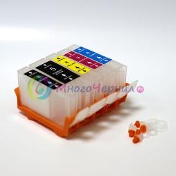 Перезаправляемые картриджи (ПЗК) для Canon PIXMA iP4200, iP4500, iP5200, iP4300, MP610, MP600, MP500, iP5300, MP800, MP810, MP530, MP830, MX850, комплект из 5 шт, с авточипами