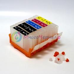 Перезаправляемые картриджи (ПЗК) для Canon PIXMA iP4200, iP4500, iP5200, iP4300, MP610, MP600, MP500, iP5300, MP800, MP810, MP530, MP830, MX850 без чипов, 5 штук