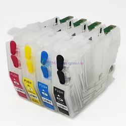 Перезаправляемые картриджи ПЗК для Brother MFC-J2330DW, MFC-J2730DW, MFC-J3530DW, MFC-J3930DW (замена LC3617), с одноразовыми чипами, с узким чёрным картриджем, комплект 4 цвета, без ограничений по дате выпуска принтера