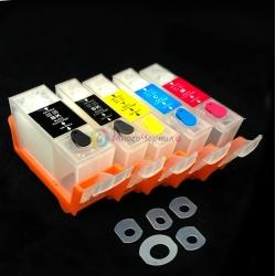 Перезаправляемые картриджи (ПЗК) для Canon PIXMA iP4850, iP4950, MG5150, MG5250, MG5350, ix6550, 5 штук, с чипами