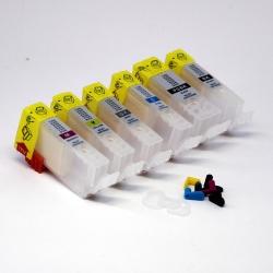 Перезаправляемые картриджи (ПЗК) для Canon PIXMA MG6240, MG6140, MG8240, MG8140, 6 цветов, с авто чипами