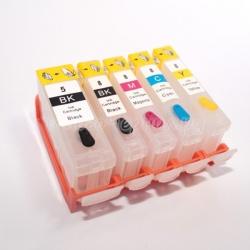 Перезаправляемые картриджи (ПЗК) для Canon PIXMA MP520, MP510, iP3500, iP3300, iX4000, MX700, iX5000 c авточипами, комплект 4/5 цветов