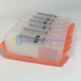 Перезаправляемые картриджи (ПЗК/ДЗК) для Canon PIXMA TS8140, TS8240, TS8340, TS9140 (PGI-480, CLI-481), с одноразовыми чипами, комплект 6 цветов