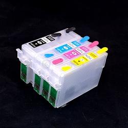 Перезаправляемые картриджи (ПЗК/ДЗК) для Epson WorkForce WF-7510, WF-7520, WF-7010, WF-3520, WF-3540, 845, 545, 633, 840, 645, 640, 635, 60 Stylus NX625, NX530, с чипами T127, комплект 4 цвета, с черным картриджем большого объема