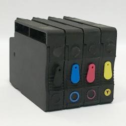 Перезаправляемые картриджи (ПЗК) для HP OfficeJet OJ 7110, 7510, 7612, 7512, 6700, 7610, 6100, 6600 (HP 933/932), с тонким чёрным картриджем, непрозрачные, с чипами, 4 x 17 мл, повышенная надежность