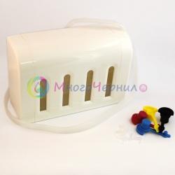 Красивые емкости-доноры для СНПЧ на 4 цвета (как на оригинальных СНПЧ для Epson L), белый корпус, 4 x 70 мл