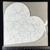 Пазл для сублимации деревянный (МДФ), в форме сердца, 17 см, 23 детали
