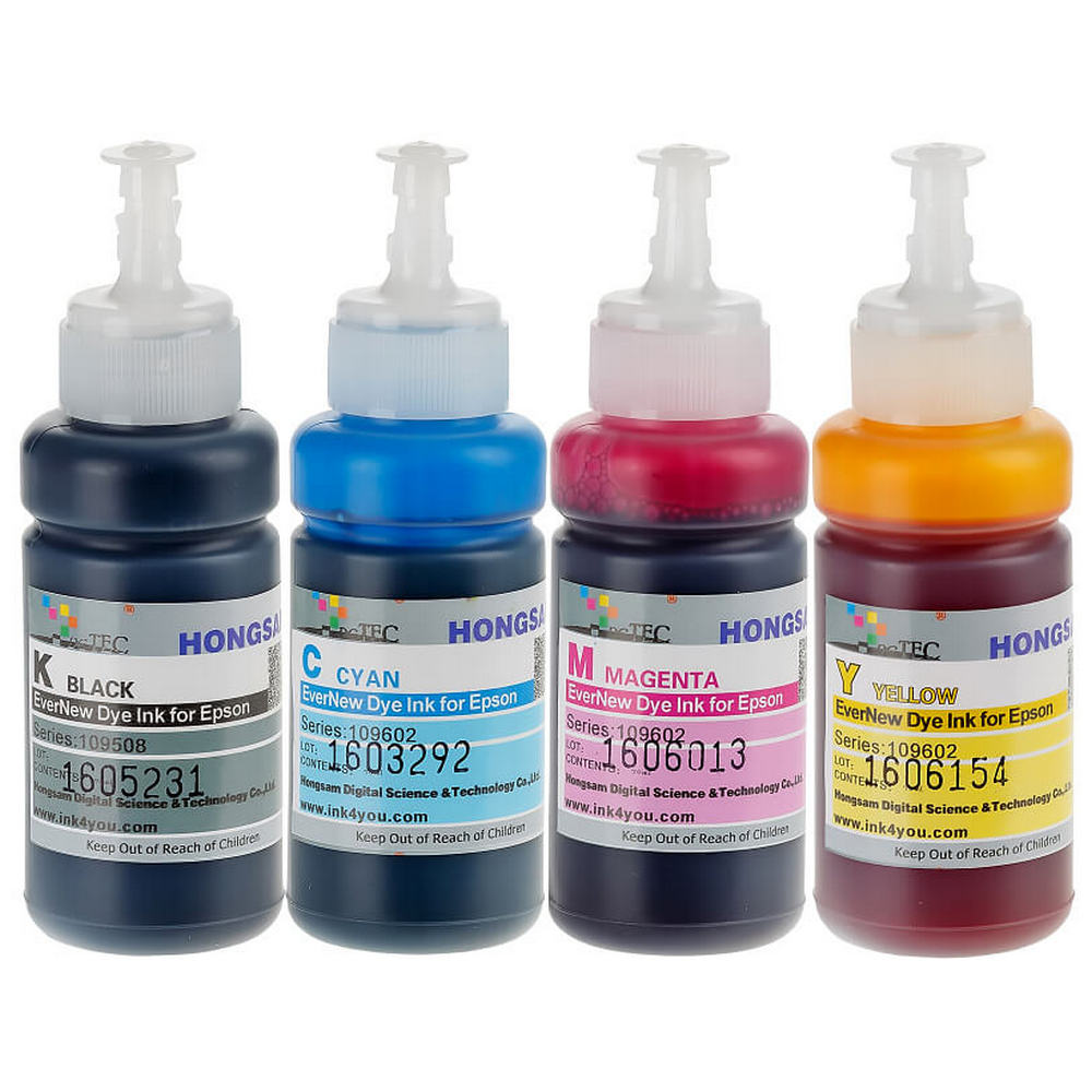 Чернила светостойкие для Epson L1110, L3100, L3101, L3110, L3111, L3150, L3151, L3156, L3160, L5190, ET-2710, ET-2711, ET-2720, ET-4700 (Фабрика Печати / Ecotank, аналог оригинальных чернил 103 / 104), водные DCTec, 4 цвета по 70 мл по цене 941 руб.