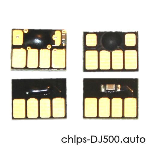 Чипы для картриджей HP Designjet 500, 800, 500PS, 800PS, 815, 820 (картриджи HP 82 и 10), автоматически обнуляемые, комплект 4 цвета по цене 190 руб.