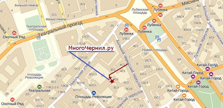 Схема проезд, как пройти к МногоЧЕрнил.ру на Лубянке