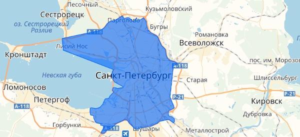 Границы зоны доставки без наценки в Санкт-Петербурге и ЛО