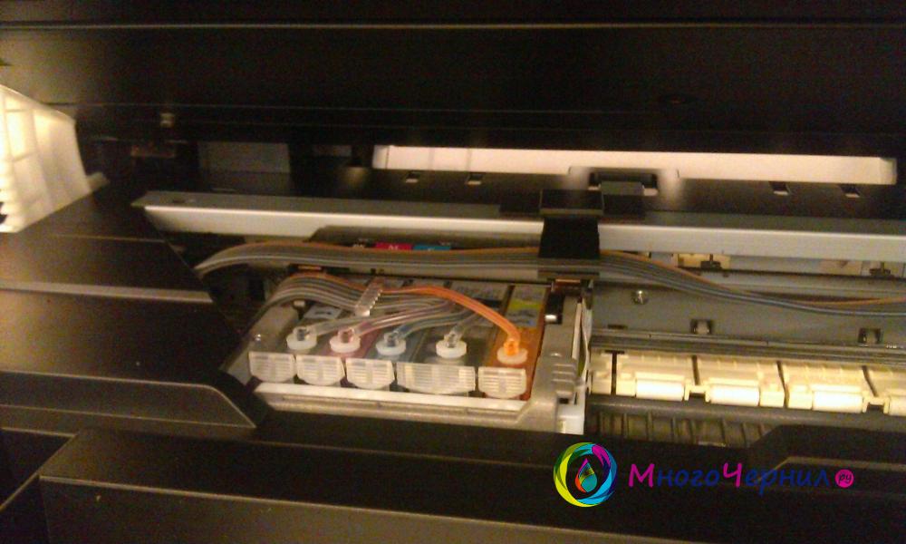 Прокладка шлейфа при установке СНПЧ на Canon PIXMA MX884